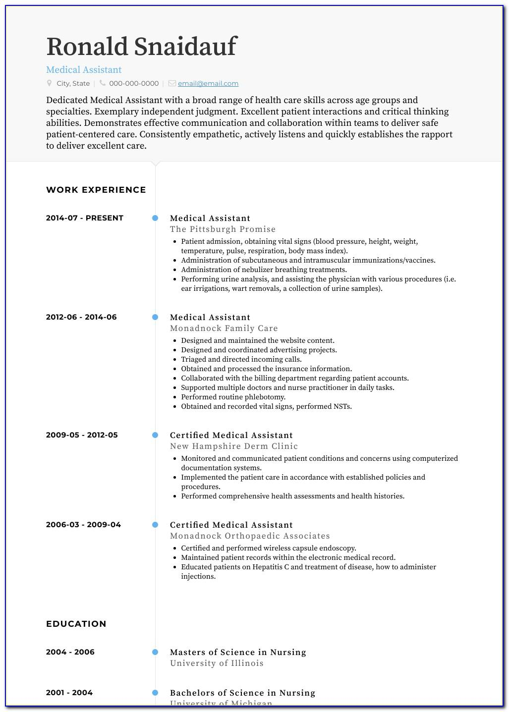 Good Resume For Medical Assistant