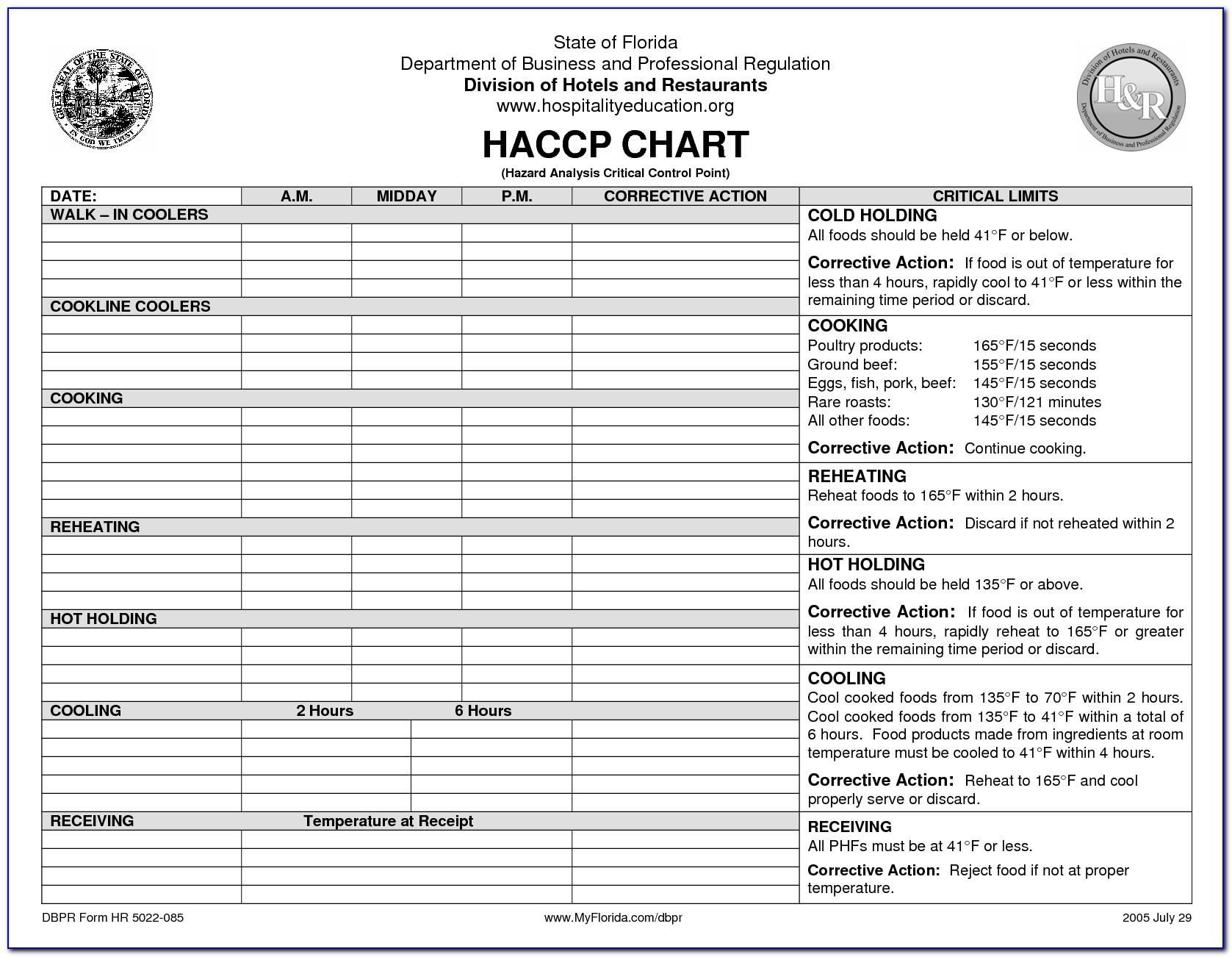 Haccp Template Free Download