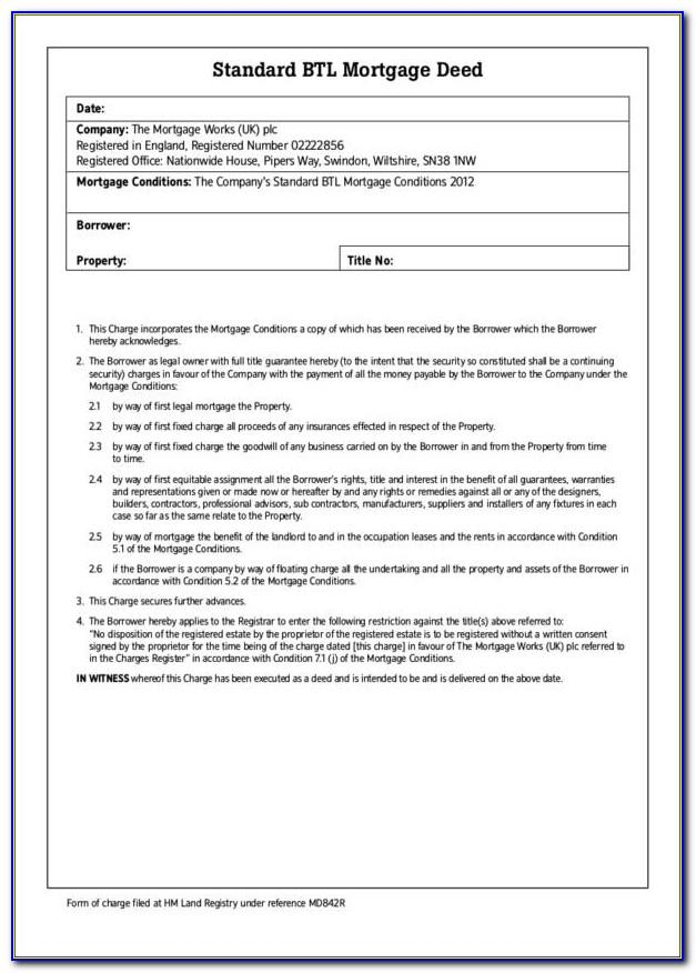 Halifax Mortgage Deed Template