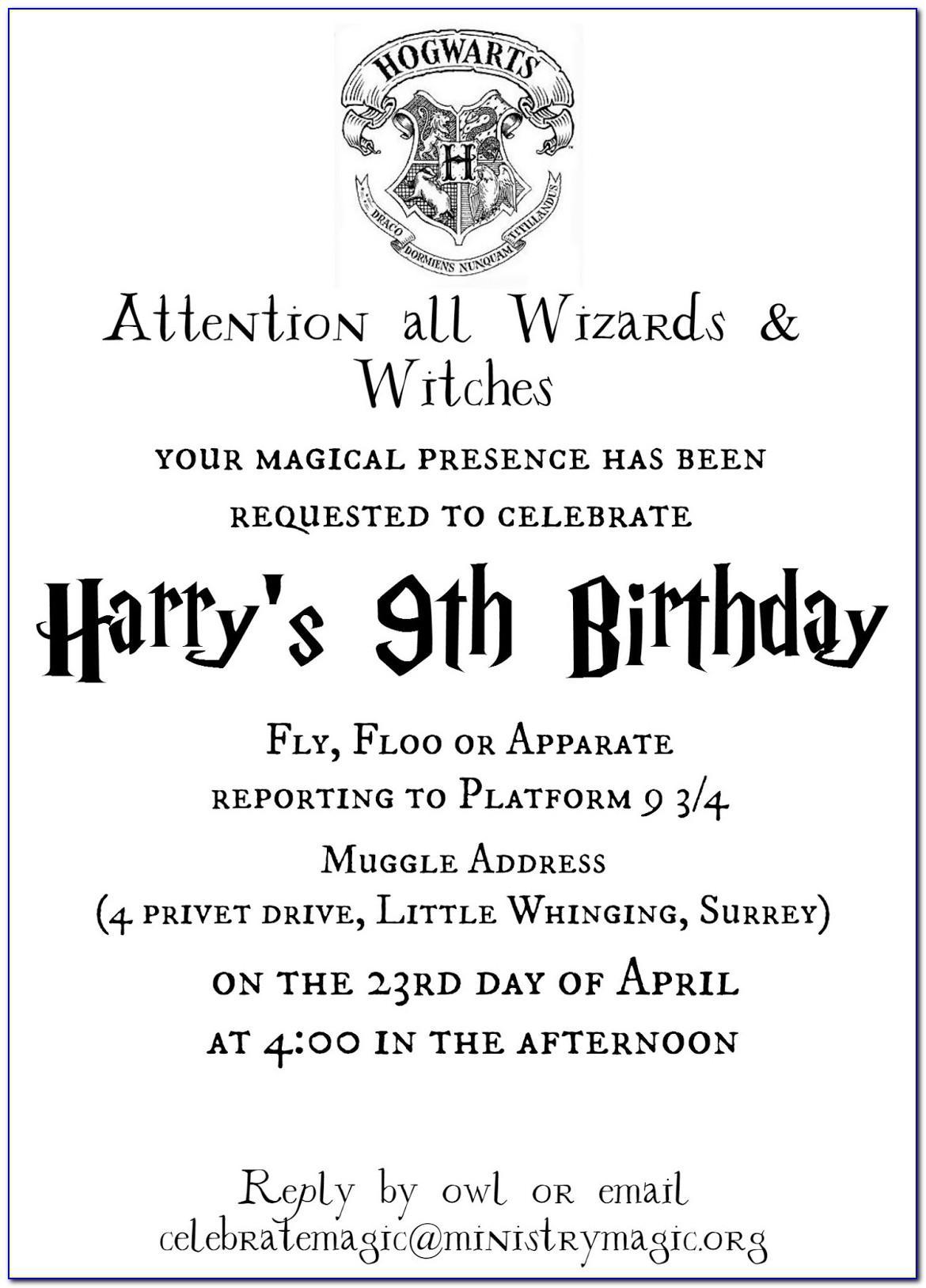 Harry Potter Printable Invitation Templates Free