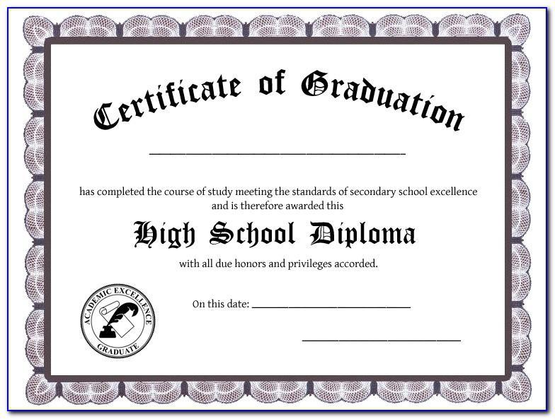 High School Graduation Certificate Sample