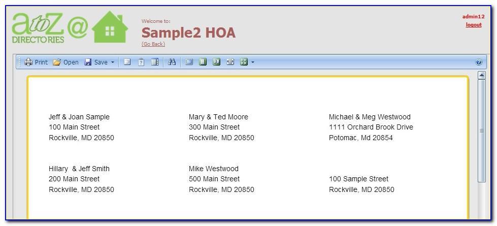 Hoa Directory Template