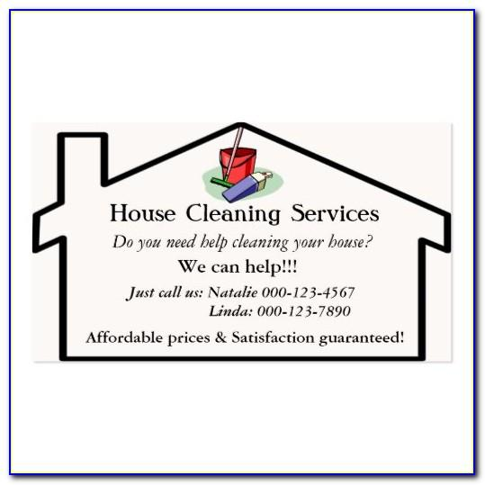 House Cleaning Card Templates