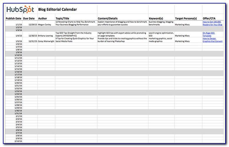 Hubspot Editorial Calendar Template