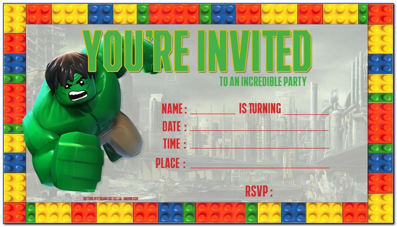Hulk Birthday Invitation Template