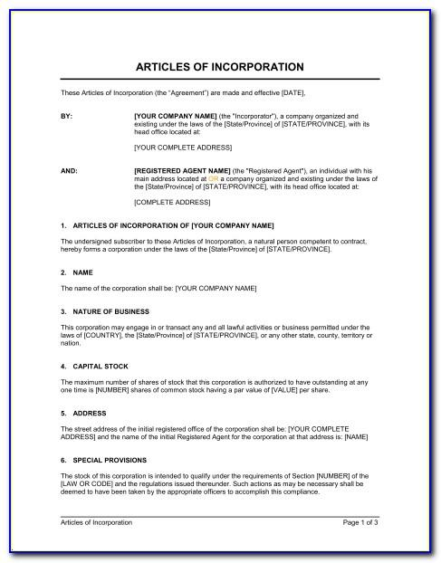 Iowa Nonprofit Articles Of Incorporation Template