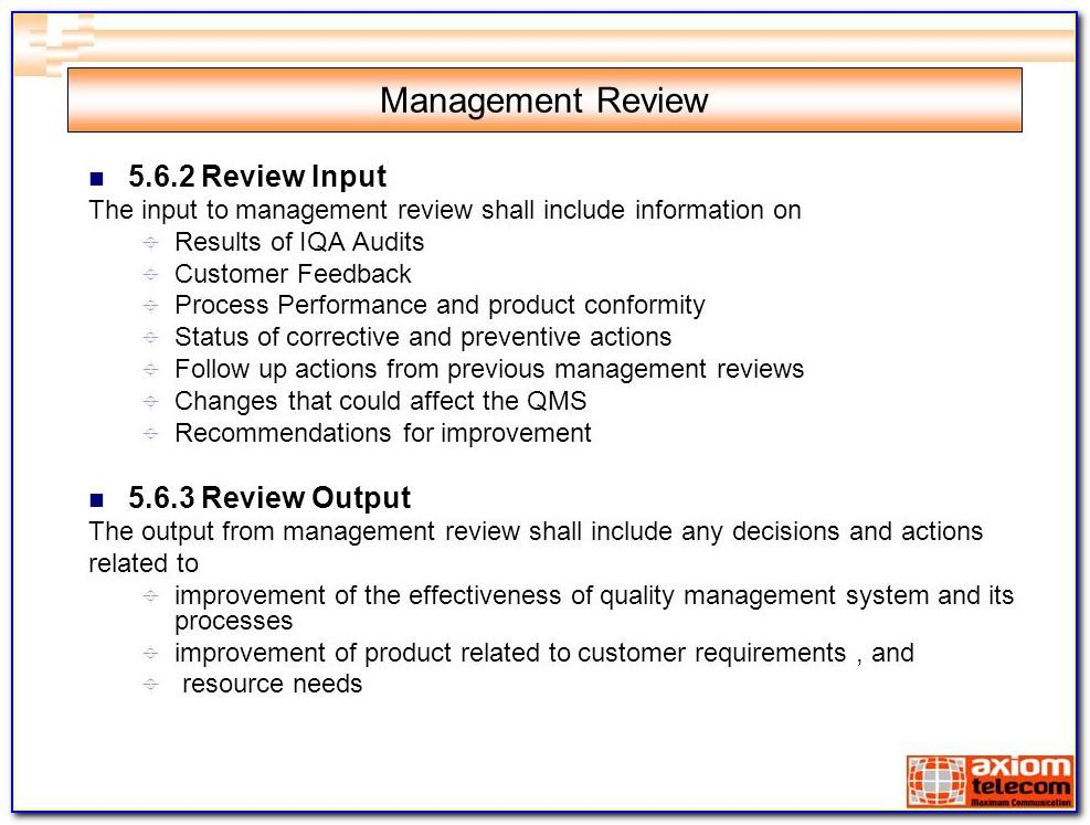 Iso Management Review Template Ppt