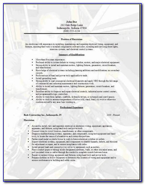 Iti Electrician Resume Format Free Download