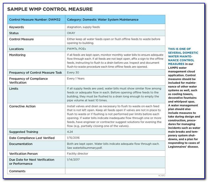 Legionella Water Management Plan Template