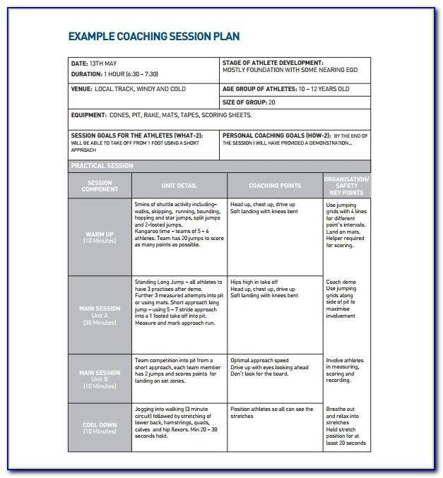 Life Coaching Session Plan Template