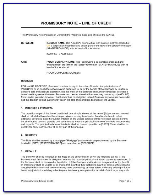 Line Of Credit Promissory Note Template