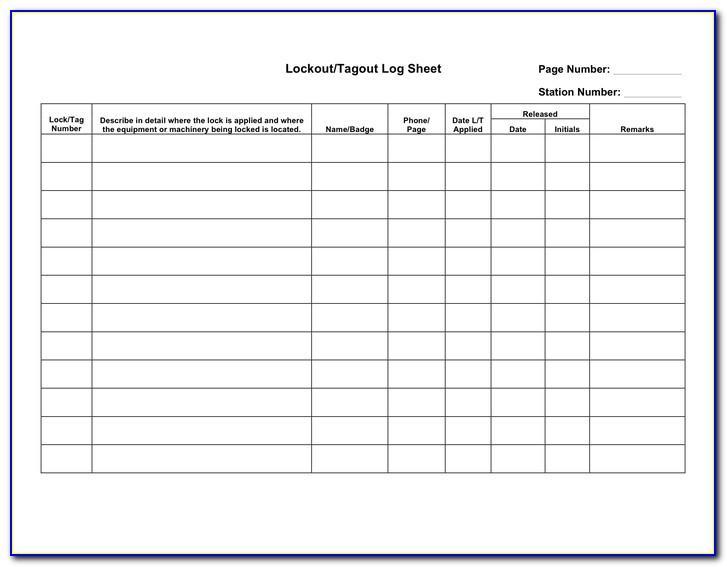 Lockout Tagout Log Template
