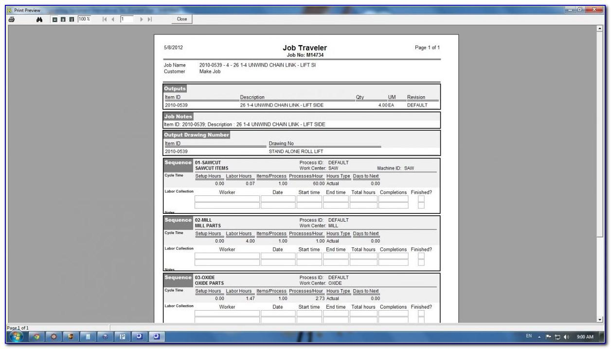 Manufacturing Job Traveler Template Excel