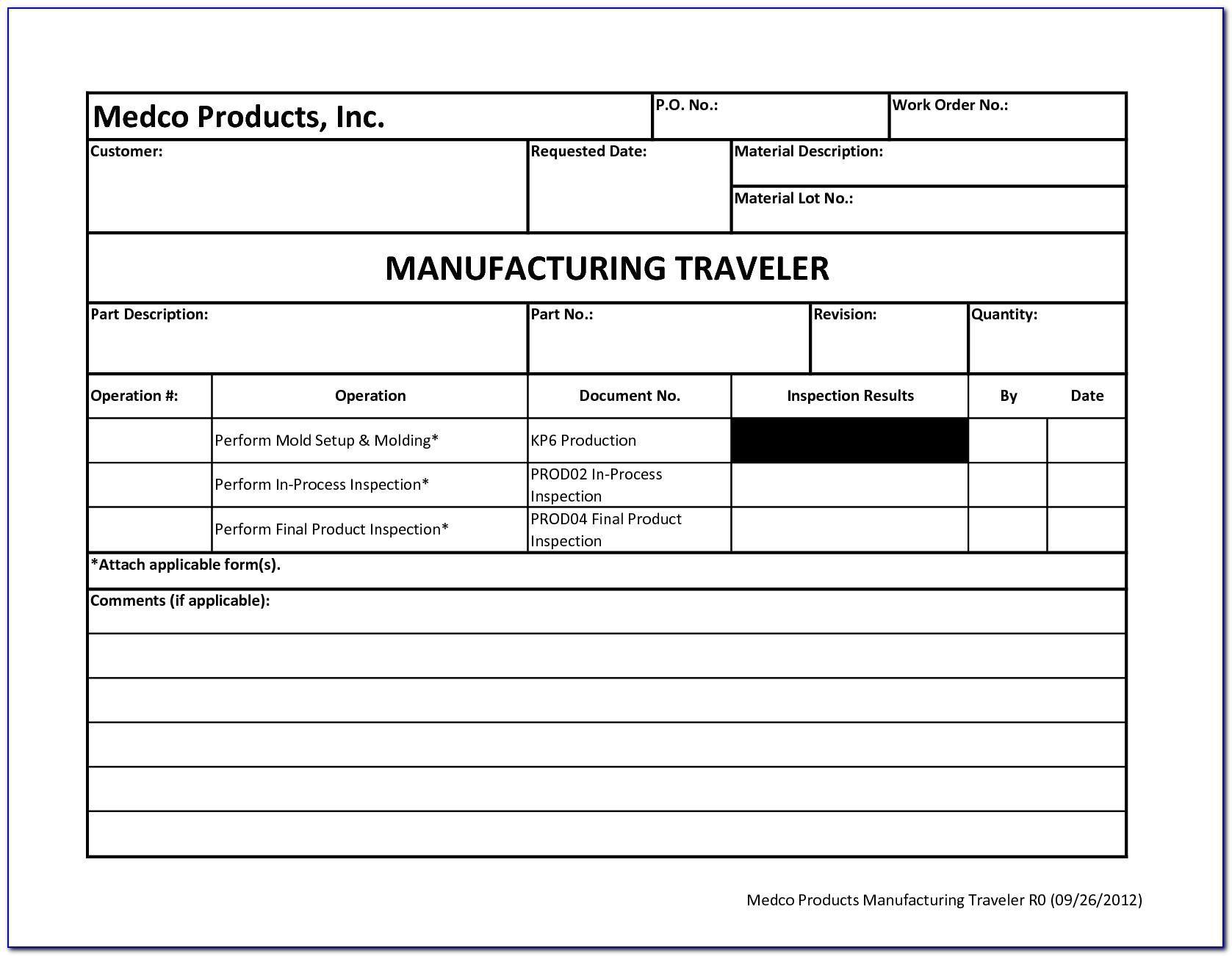 Manufacturing Shop Traveler Template