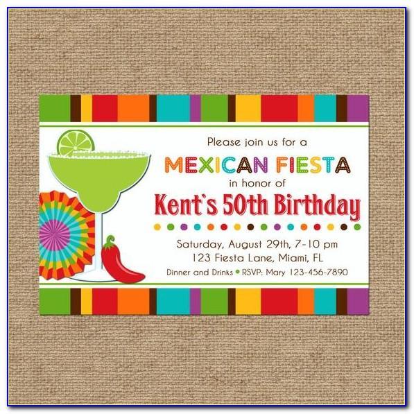 Mexican Theme Birthday Invitation Template