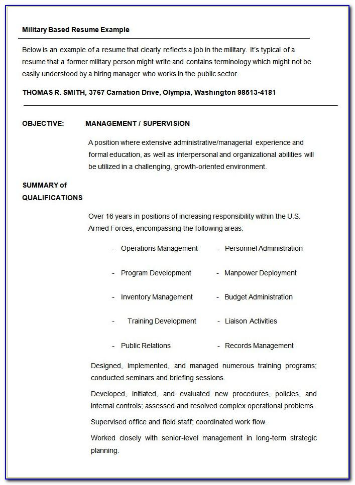 Military Resume Samples Templates