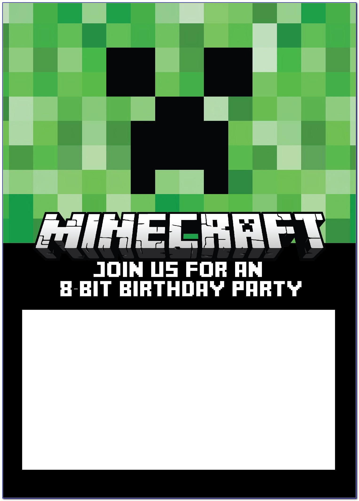 Minecraft Printables Invitations