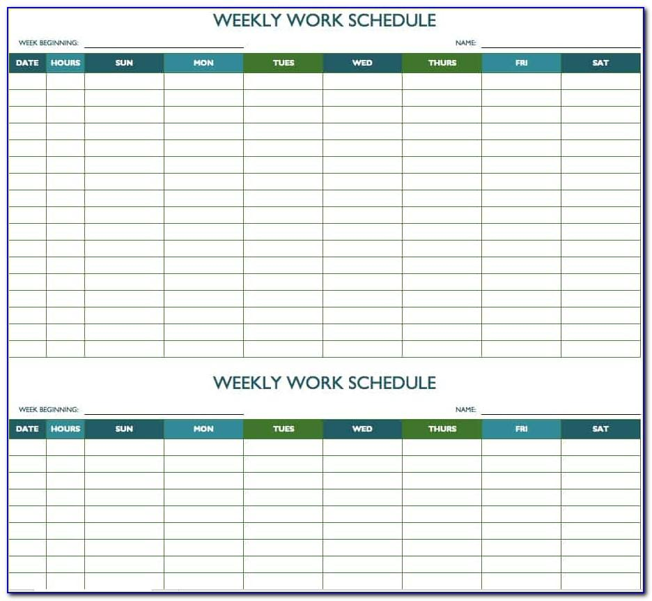 Monthly Calendar Work Schedule Template