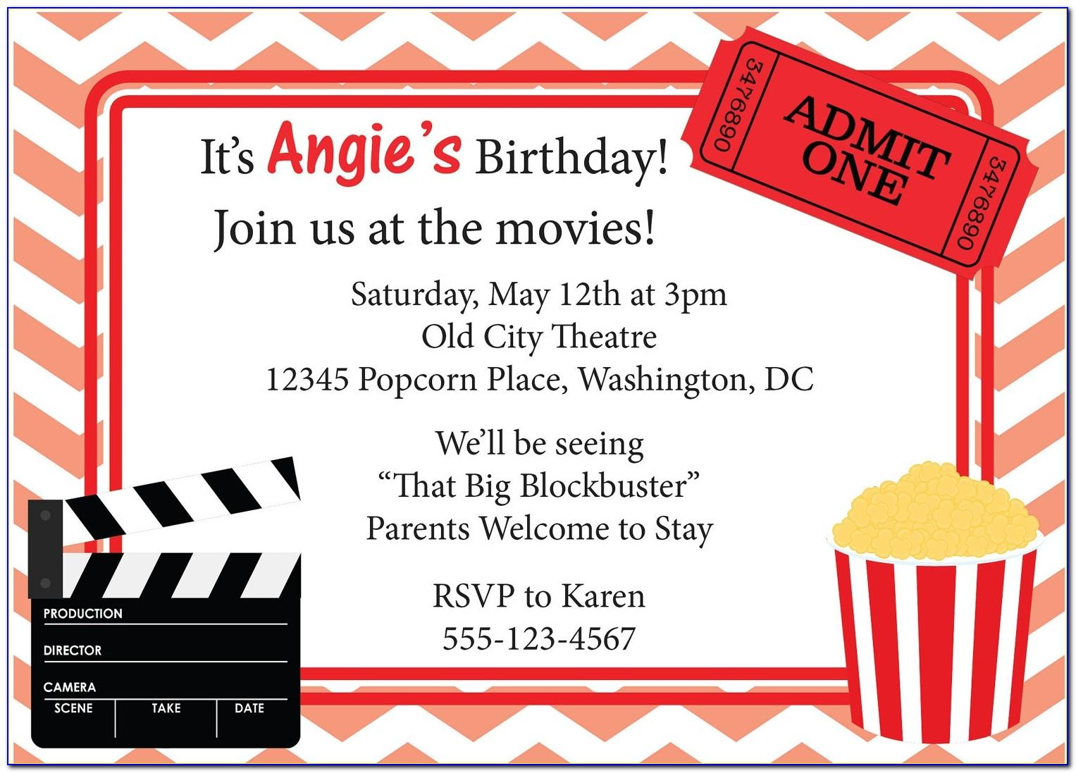 Movie Themed Party Invitation Templates Free
