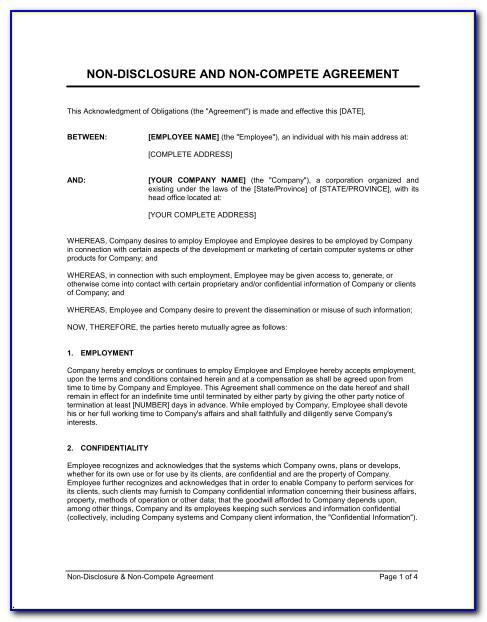 Nda And Non Compete Agreement Template