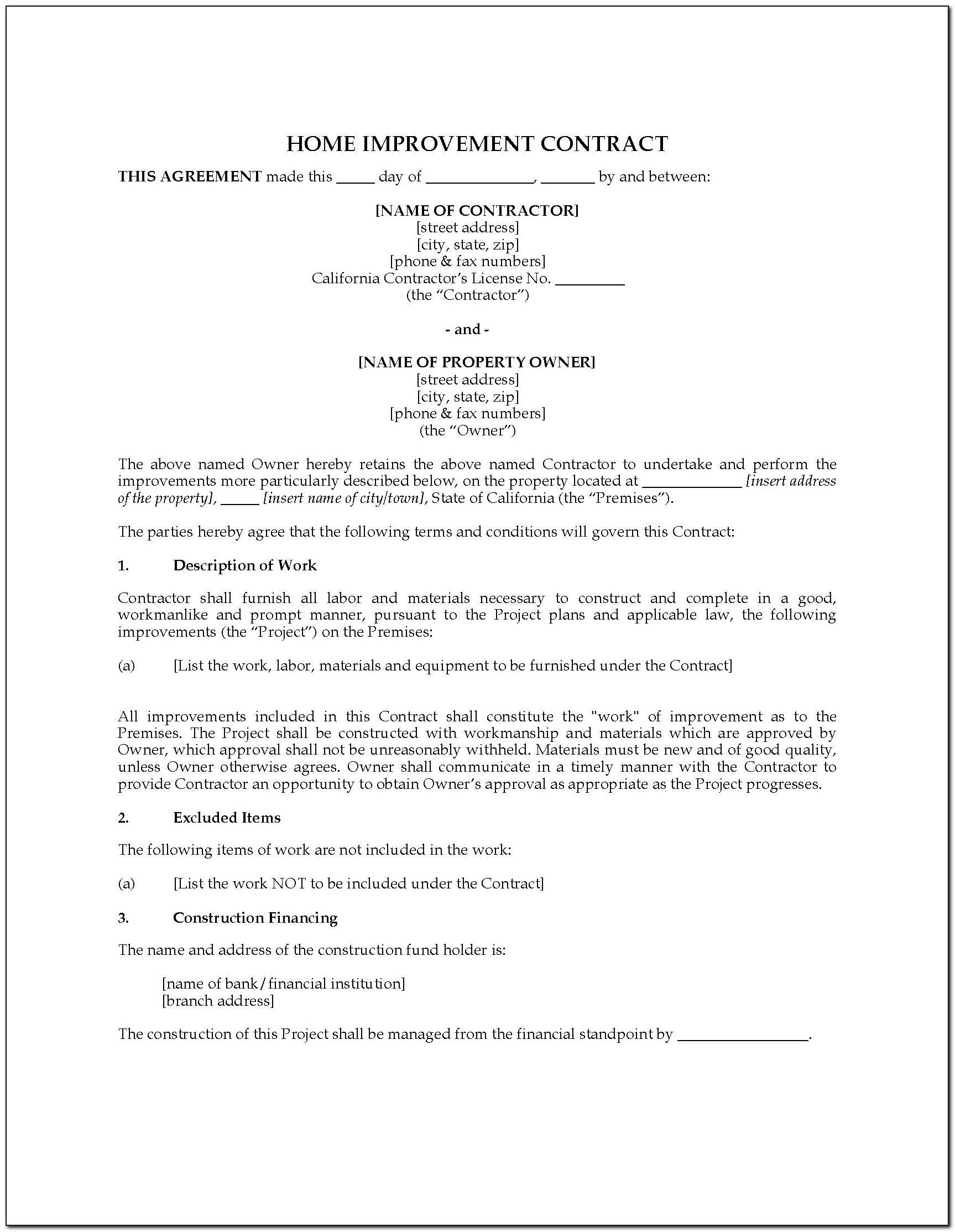 Nj Home Improvement Contract Template