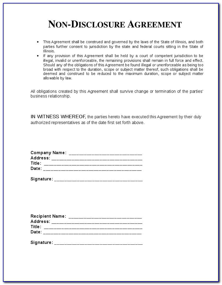 Non Disclosure Agreement Template South Africa Pdf