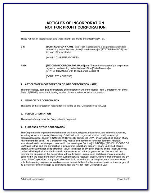 Non Profit Organization Articles Of Incorporation Template
