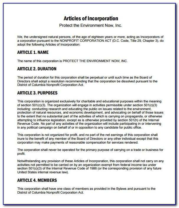 Nonprofit Articles Of Incorporation Template Texas
