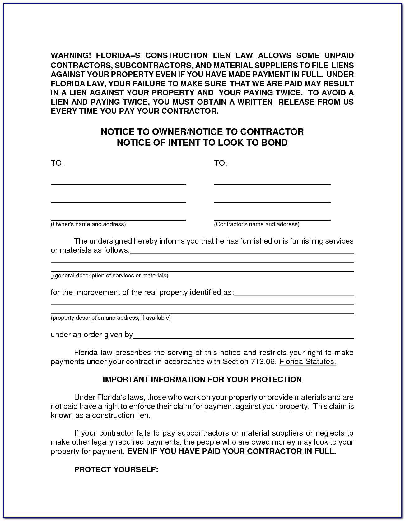 Notice Of Intent To Lien Florida Template