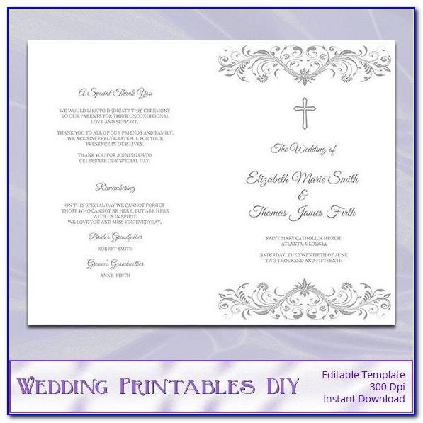 Nuptial Mass Wedding Program Template