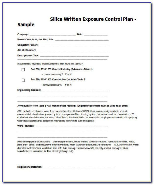 Osha Silica Control Plan Template