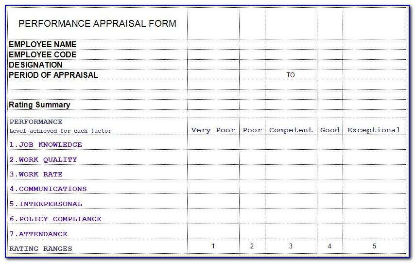 Performance Appraisal Templates Excel