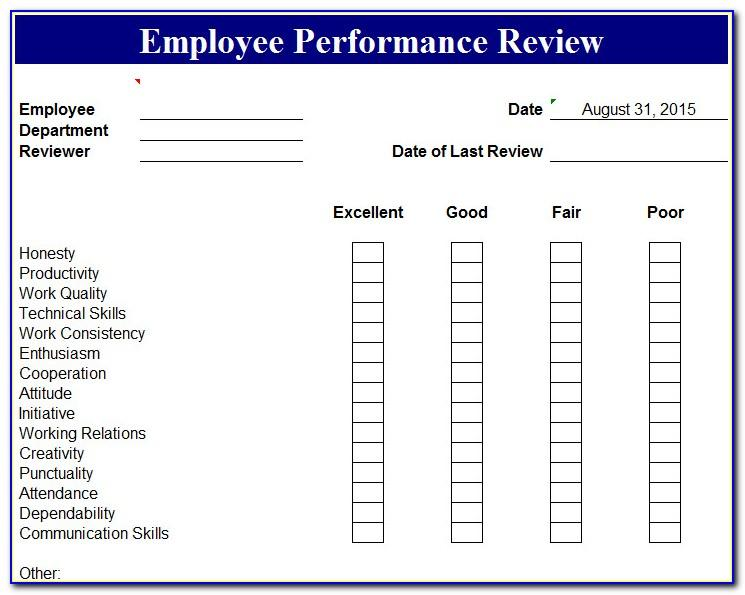 Performance Appraisal Templates Word