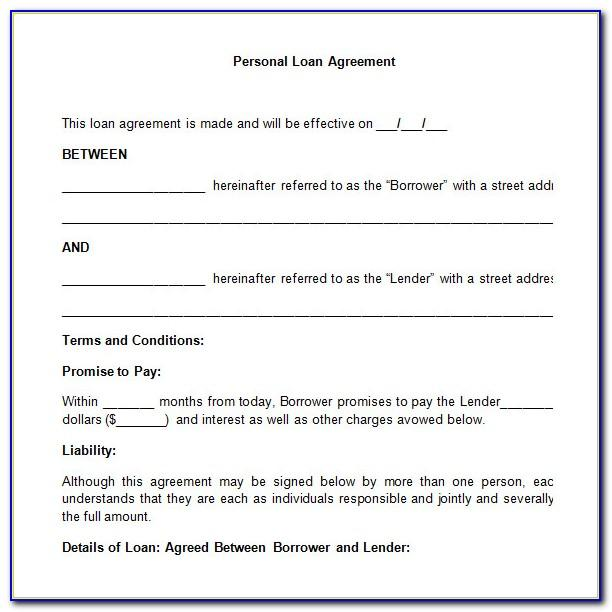 Personal Loan Agreement Template Uk Word