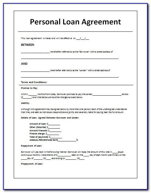 Personal Loan Contract Word Template