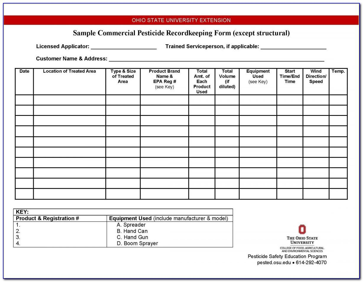 Pesticide Record Keeping Sheet