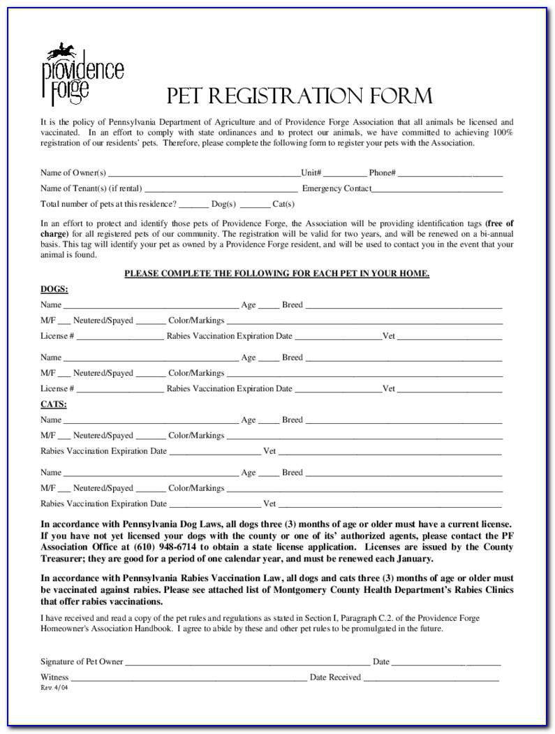 Pet Registration Form Template Word