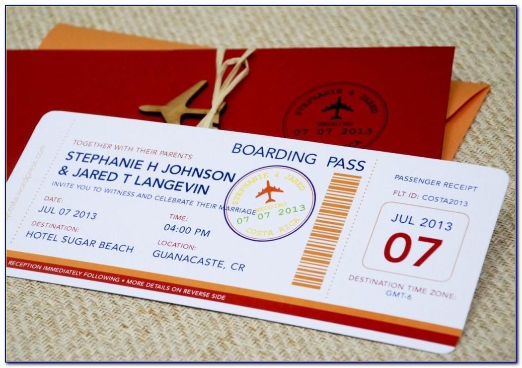Plane Ticket Wedding Invitation Template Free
