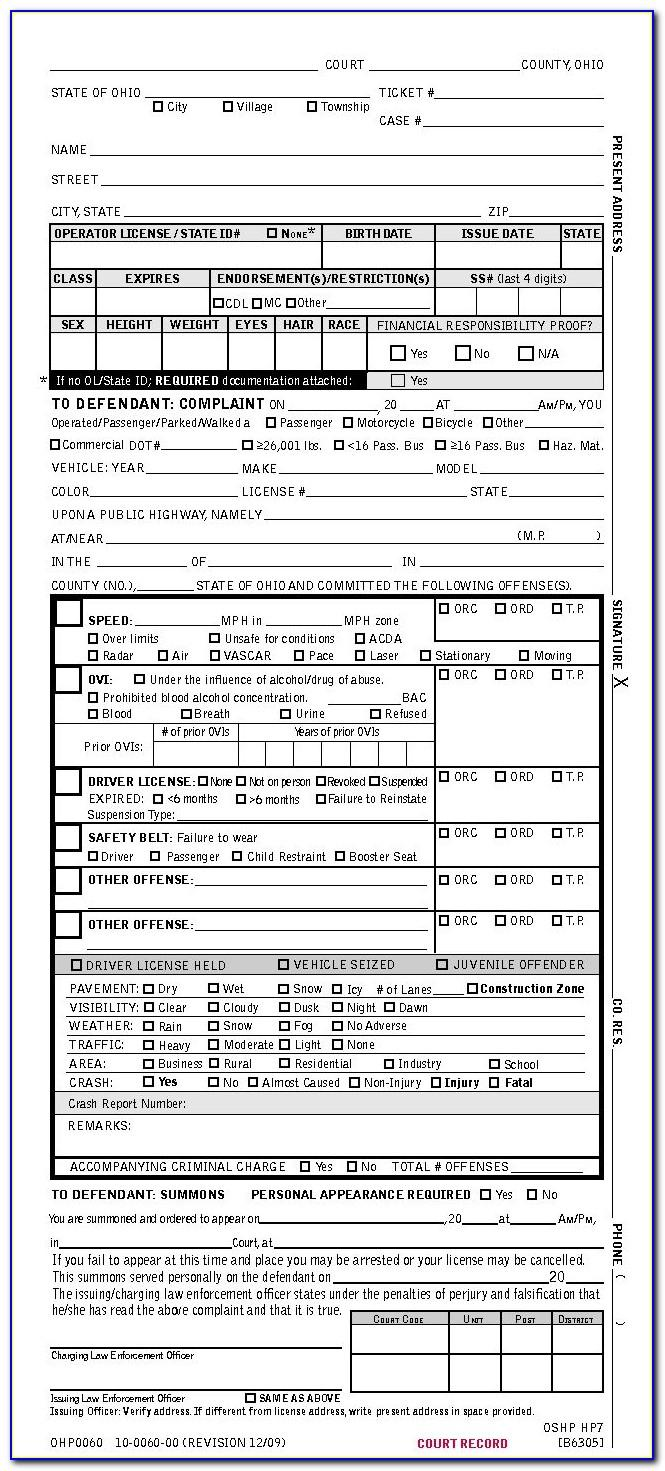 Police Ticket Printable