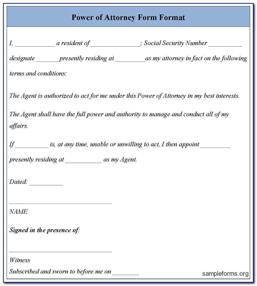 Power Of Attorney Sample