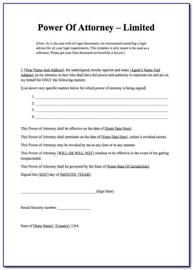 Power Of Attorney Templates