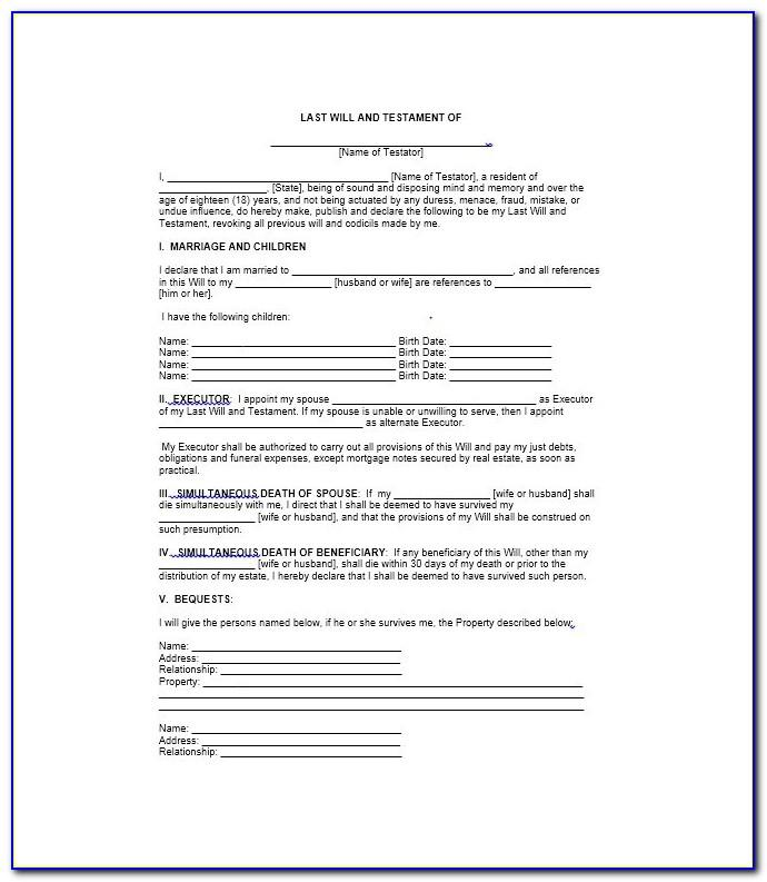 Printable Last Will And Testament Form Texas