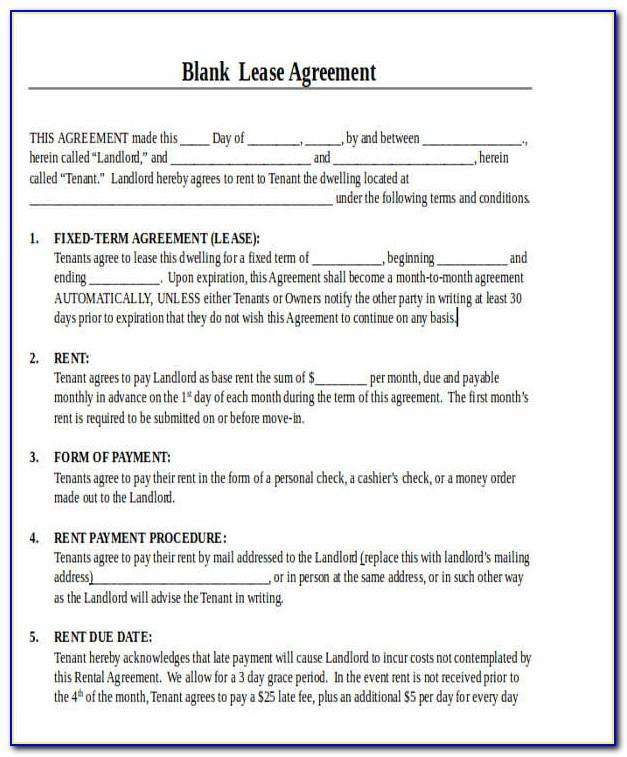 Printable Rental Lease Agreement Template