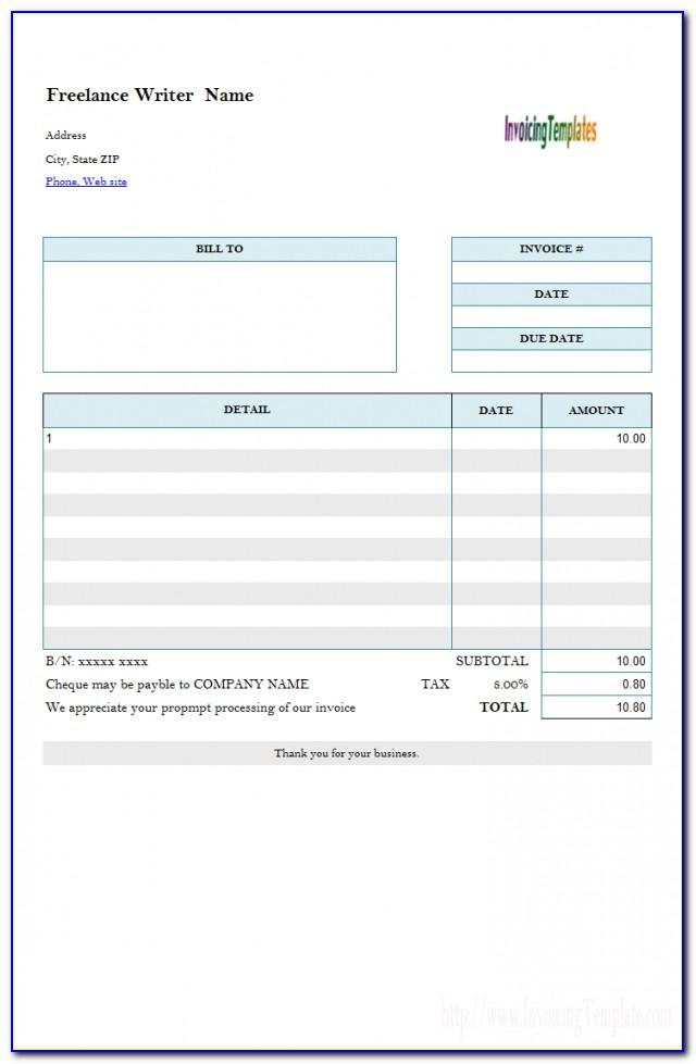 Production Invoice Example