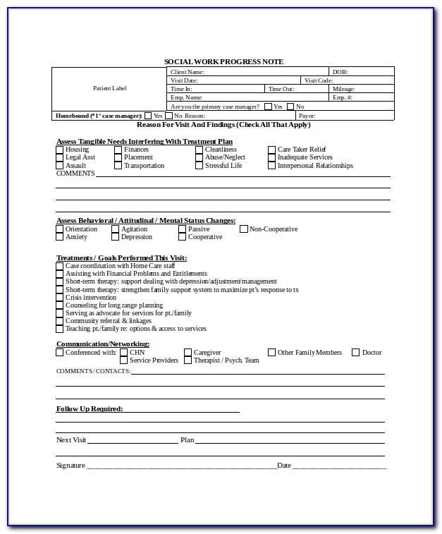 Progress Note Template Counseling