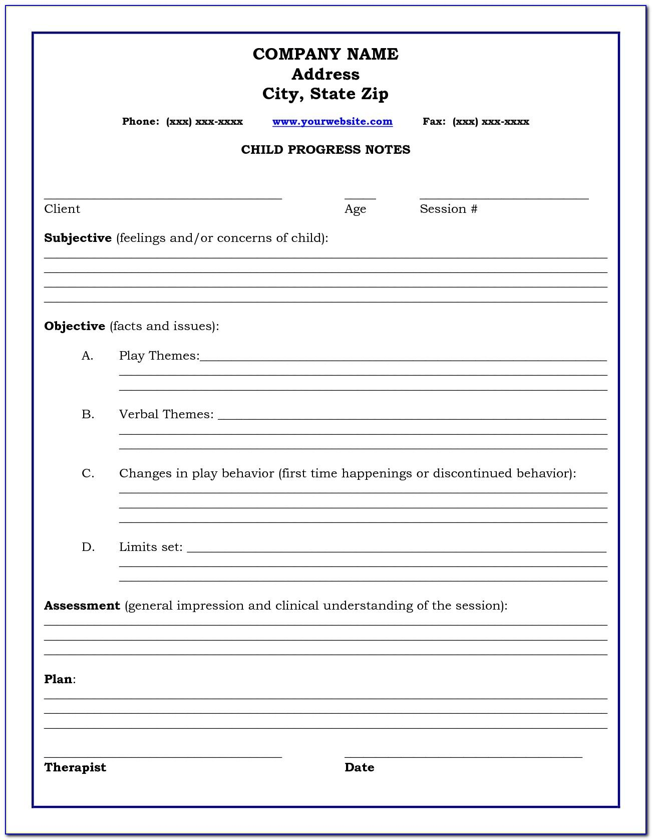 Progress Note Template Occupational Therapy