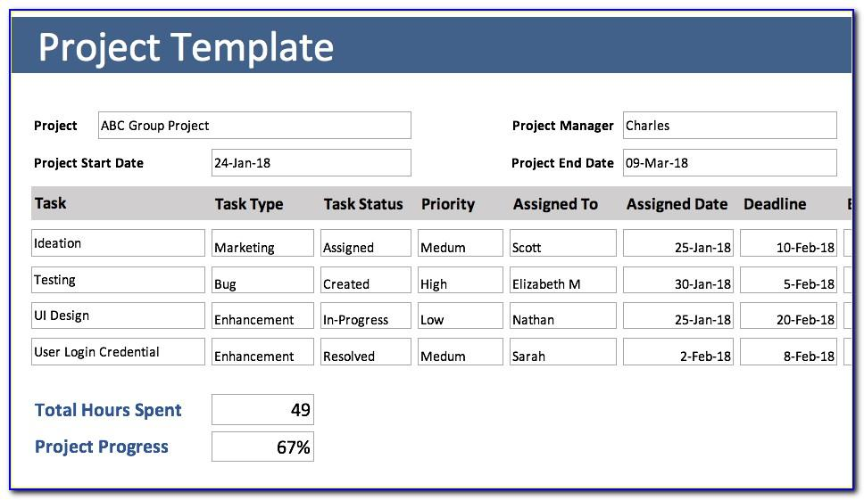 Project Time Tracking Excel Template Free