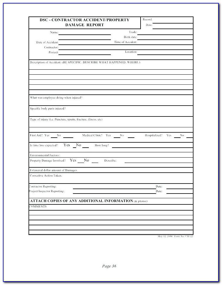 Property Insurance Claim Form Template