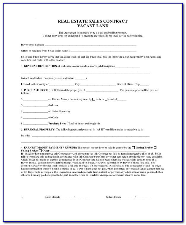 Real Estate Sale Contract Form Free