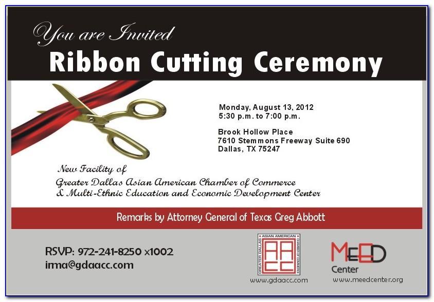 Ribbon Cutting Ceremony Invitation Template